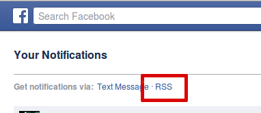 facebook notifications rss link