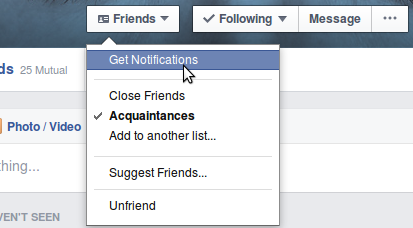 Facebook Profil Notifications